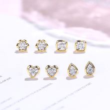 Gem miner pets new welfare 18K gold white gold diamond earrings compact simple earrings female dust