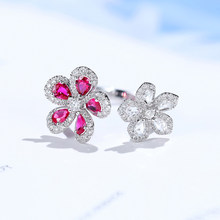 Gem miner 18k white gold cherry blossom series double flower diamond ring rose cutting 60 points diamond ring hand decoration