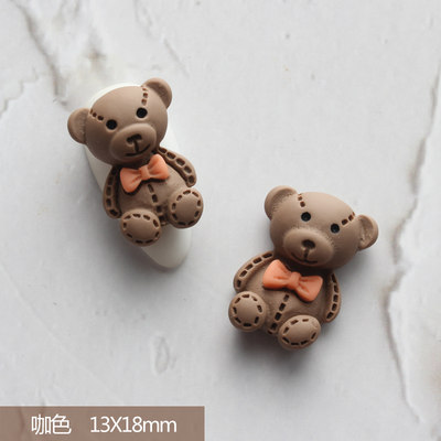 Metail cartoon jewelry girl heart cute stereo net red teddy bear nail drill decoration