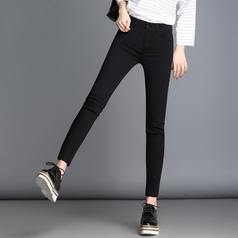 韩国紧身大码高腰黑色牛仔裤女长裤