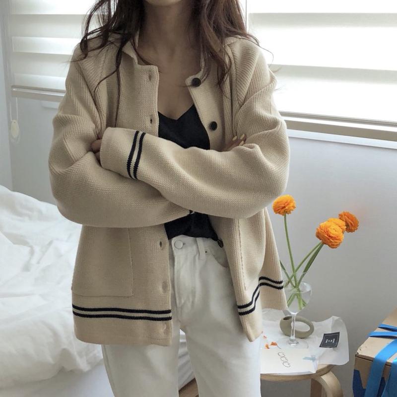 春装韩版女装复古chic条纹撞色翻领长袖毛衣开衫显瘦针织外套女