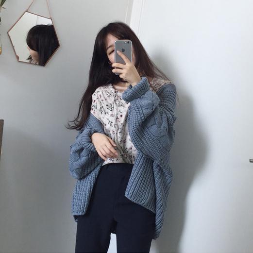 Весна корея женщины свободный сгущаться доломан толстые линии свитер пальто краткое модель длинный рукав свитер куртка кардиган