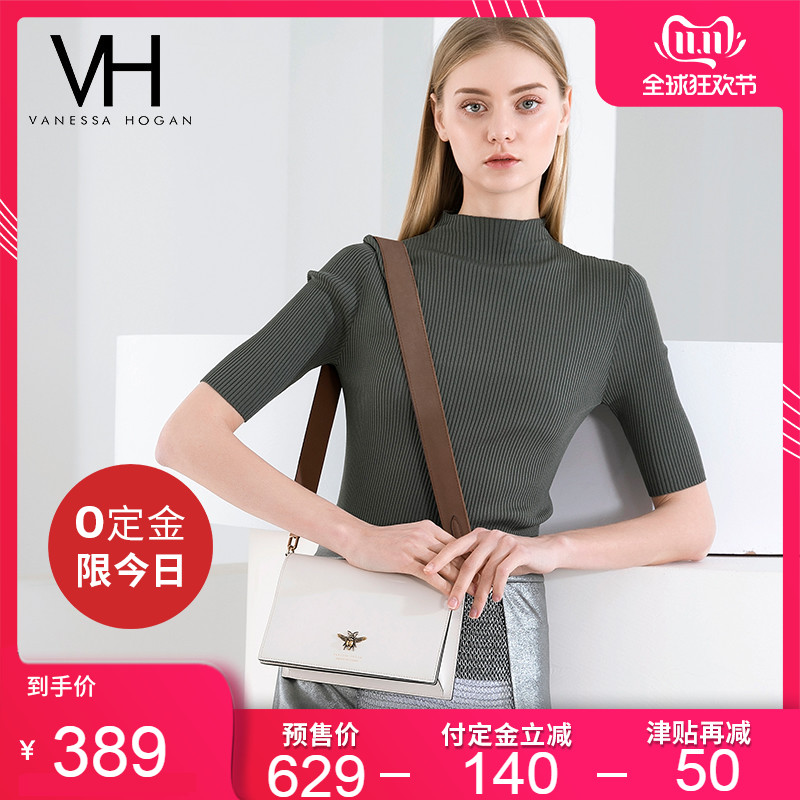 (Pre-sale)VH women's bag casual trend shoulder bag 2019 new fashion Bee wide shoulder bag messenger bag
