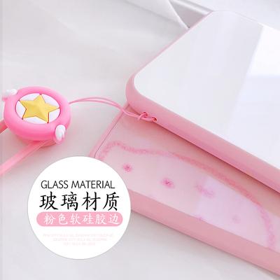 草莓玻璃壳苹果7plus手机壳8p包边iPhone6splus保护壳粉边小清新