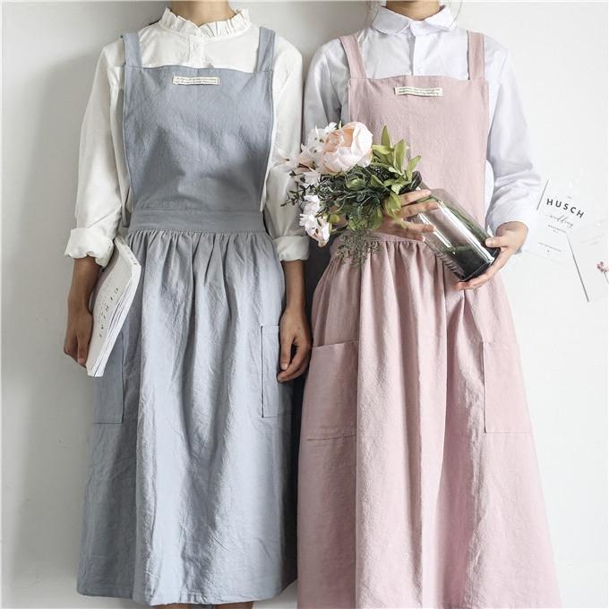 韩式时尚文艺清新公主纯色纯棉百褶荷叶边工作室厨房画室防污围裙