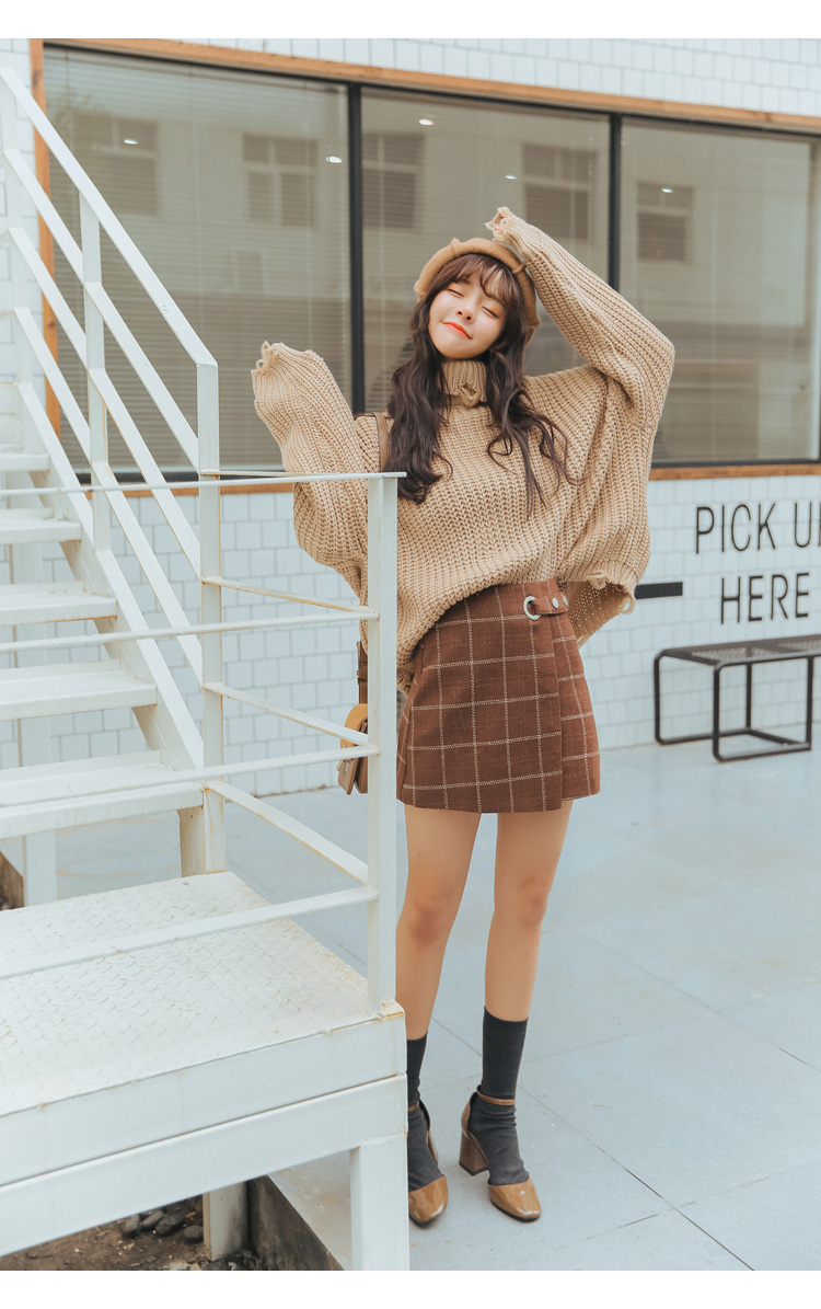 19 Women'S Ulzzang Autumn And Winter Harajuku Thickened Woolen Plaid Retro Skirt Female Cute Japanese Kawaii Skirts For Women 6