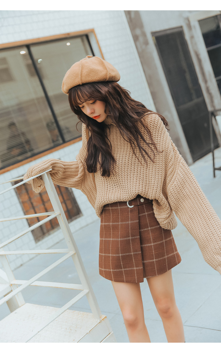 19 Women'S Ulzzang Autumn And Winter Harajuku Thickened Woolen Plaid Retro Skirt Female Cute Japanese Kawaii Skirts For Women 3