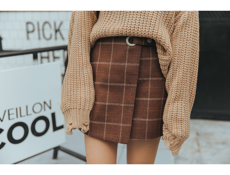 19 Women'S Ulzzang Autumn And Winter Harajuku Thickened Woolen Plaid Retro Skirt Female Cute Japanese Kawaii Skirts For Women 16