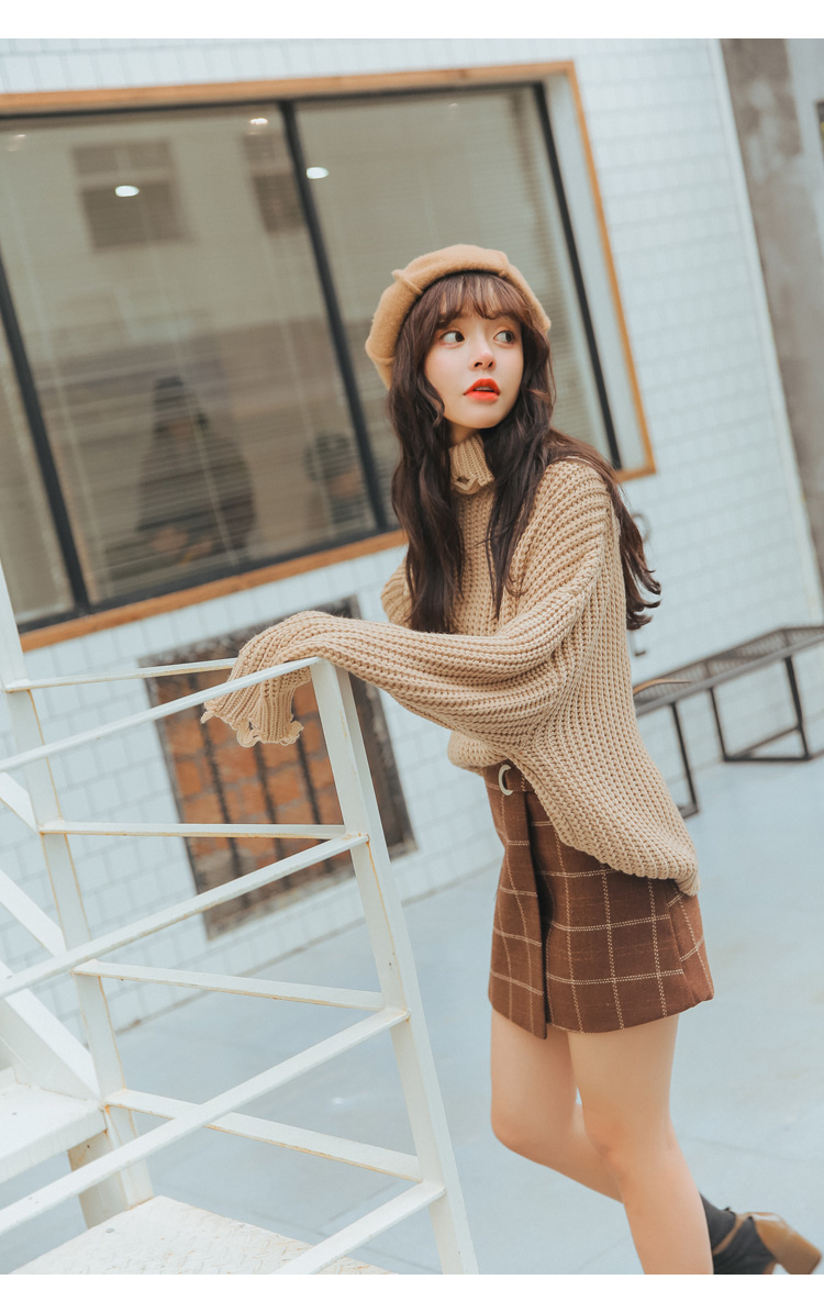 19 Women'S Ulzzang Autumn And Winter Harajuku Thickened Woolen Plaid Retro Skirt Female Cute Japanese Kawaii Skirts For Women 5