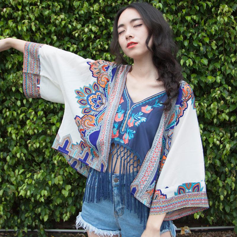 2018 новый праздник ветер вышивка хлопок кисточка роса пупок строп жилет кимоно кардиган солнцезащитный одежды женщина лето