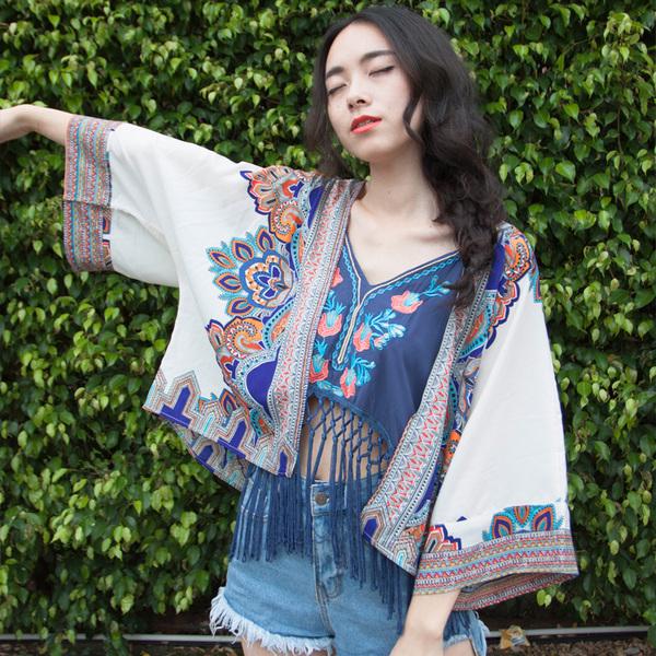 Праздник ветер вышивка кисточка роса пупок строп жилет летний костюм женщина шифон кимоно кардиган солнцезащитный одежды короткий пальто