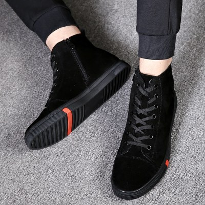 Men's shoes spring 2021 new Martin boots high black warrior cotton shoes plus velvet warm flutter shoes men's tide shoes