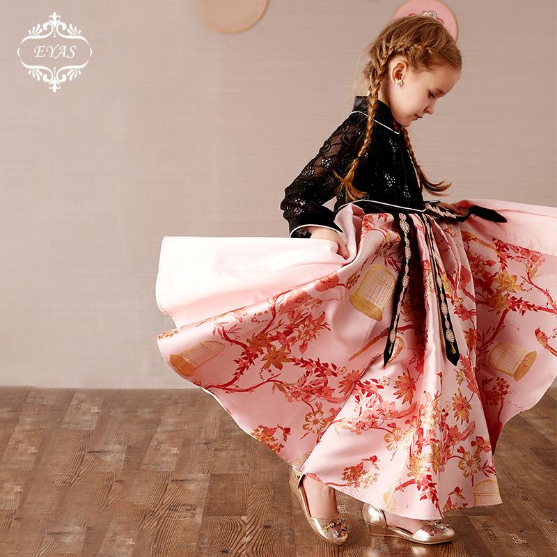 EYAS váy bé gái mùa thu đông hoa cô gái cưới Trung Quốc váy trẻ em catwalk cao cấp khí chất sinh nhật Trung Quốc - Váy trẻ em