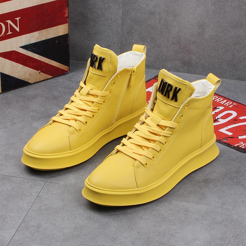 男士夏季新款高帮鞋韩版马丁靴内增高厚底皮靴发型师潮流男短靴子