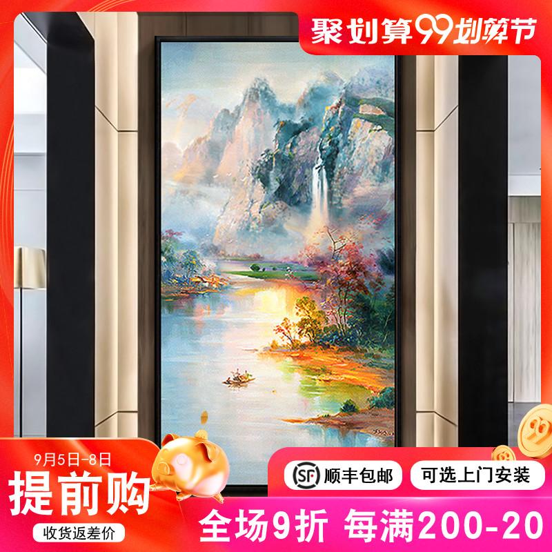 新中式客厅玄关装饰画纯手绘油画入户走廊过道竖版招财风景山水画