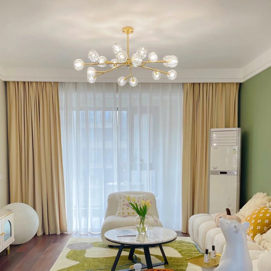 Living room chandelier Light luxury crystal lamp modern minimalist Nordic migenic restaurant Atmospheric branch bedroom model room light