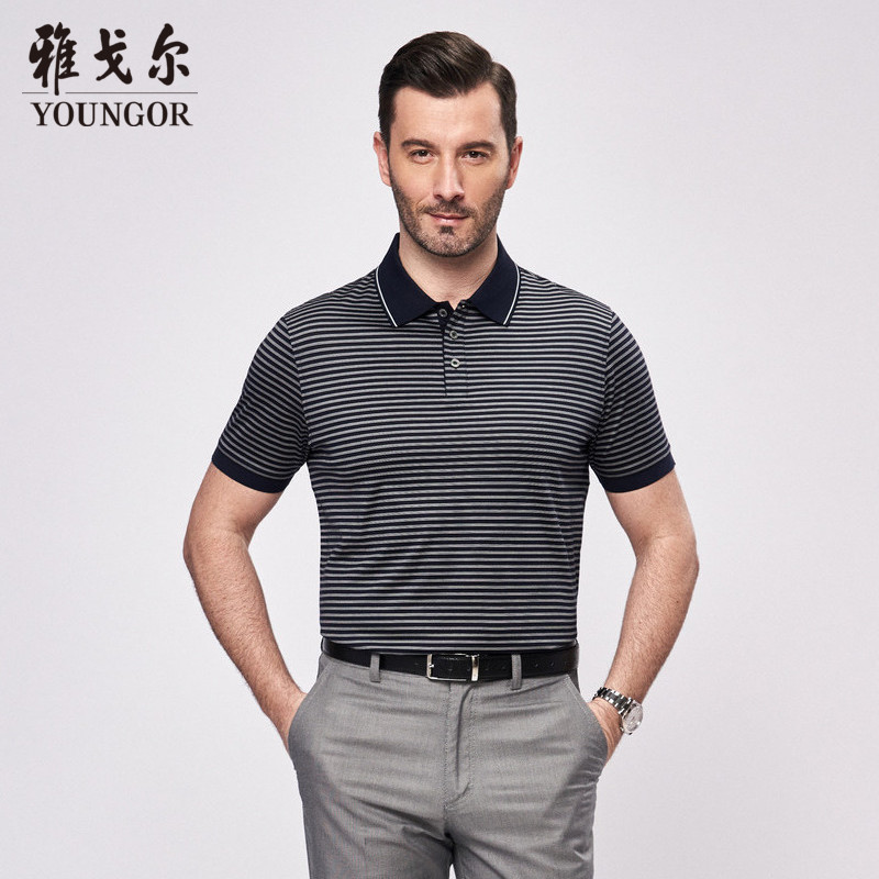 8d3db628251 Youngor youngor summer men s tops business casual polo striped men s short  sleeve T-shirt male 4896