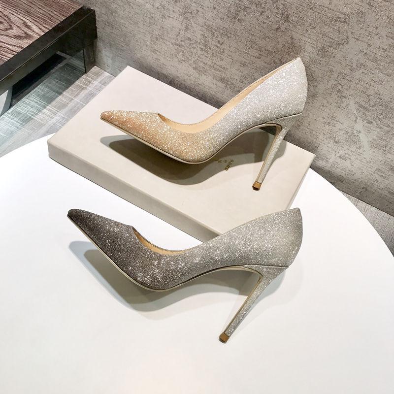 【年底清仓全国包邮】真皮银色高跟细跟尖头水晶单鞋宴会婚鞋女