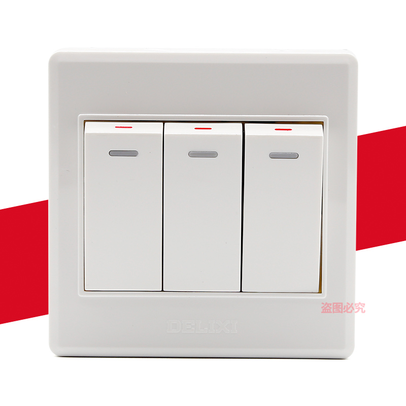 USD 11.39] Delixi CD220 switch receptacle triple switch panel 3 ...