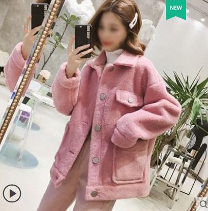 短款仿羊羔毛外套女2019新韩版宽松翻领毛绒加厚皮毛一体夹克上衣