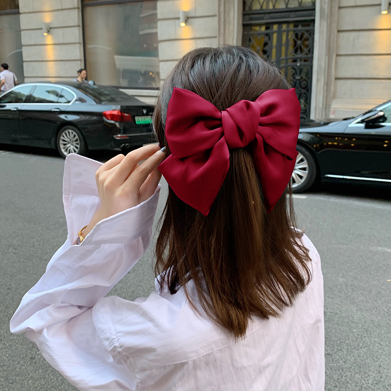 大蝴蝶结发夹后脑勺弹簧夹横夹甜美发饰日系超仙顶夹 lolita 发卡