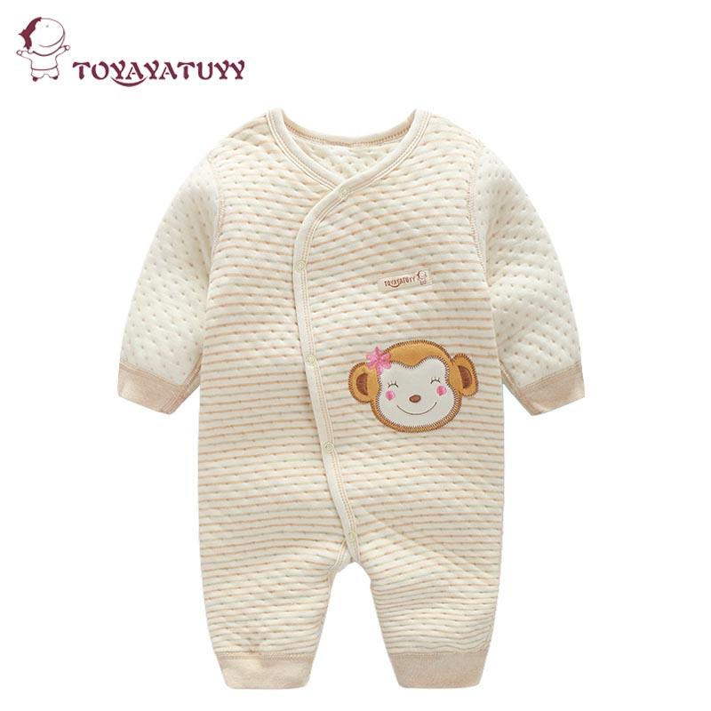 婴儿连体衣秋冬季装a婴儿加厚睡衣长袖宝宝彩棉哈衣新生儿衣服春款