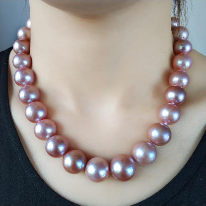 珍珠鳥14-17MM高品質送禮收藏款正圓強光淡水珍珠項鏈送媽媽正品