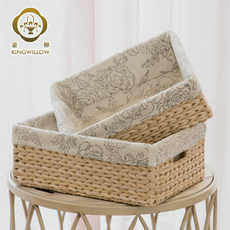 Jinliu rattan woven straw storage box desktop finishing basket household storage box dirty clothes sundries storage box basket fabric