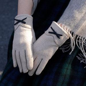 羊毛手套女士冬天保暖加绒加厚开车手套仿羊绒内里可触屏分指五指