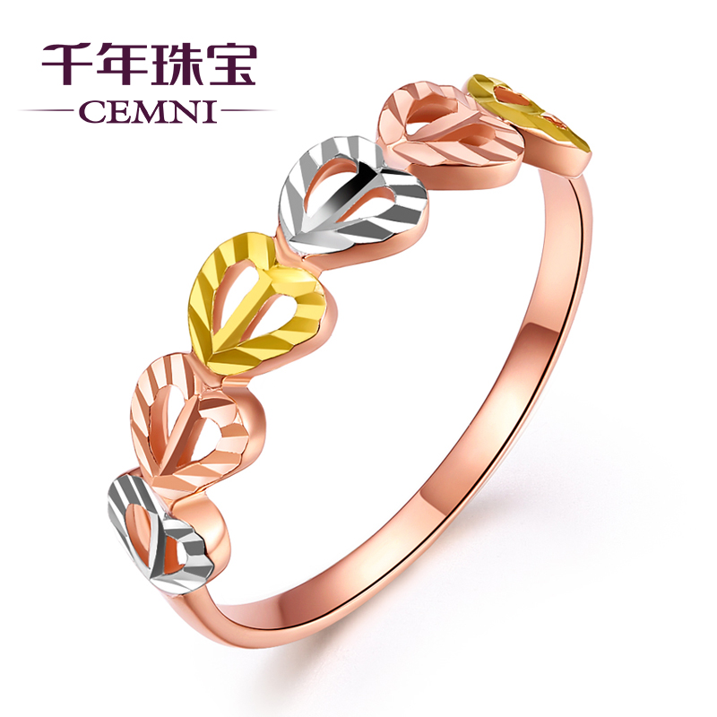 Yellow 18k Gold Ring Color Female Models Rose Show Big Love Birthday Gift Girlfriend