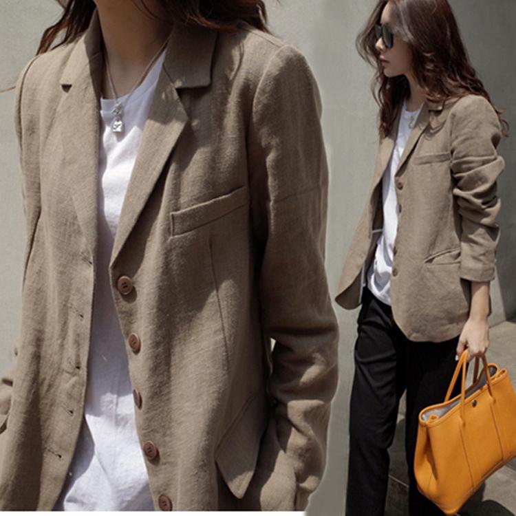 秋季外套简约小西装亚麻上衣女士显瘦修身长袖文艺短款薄款ol百搭