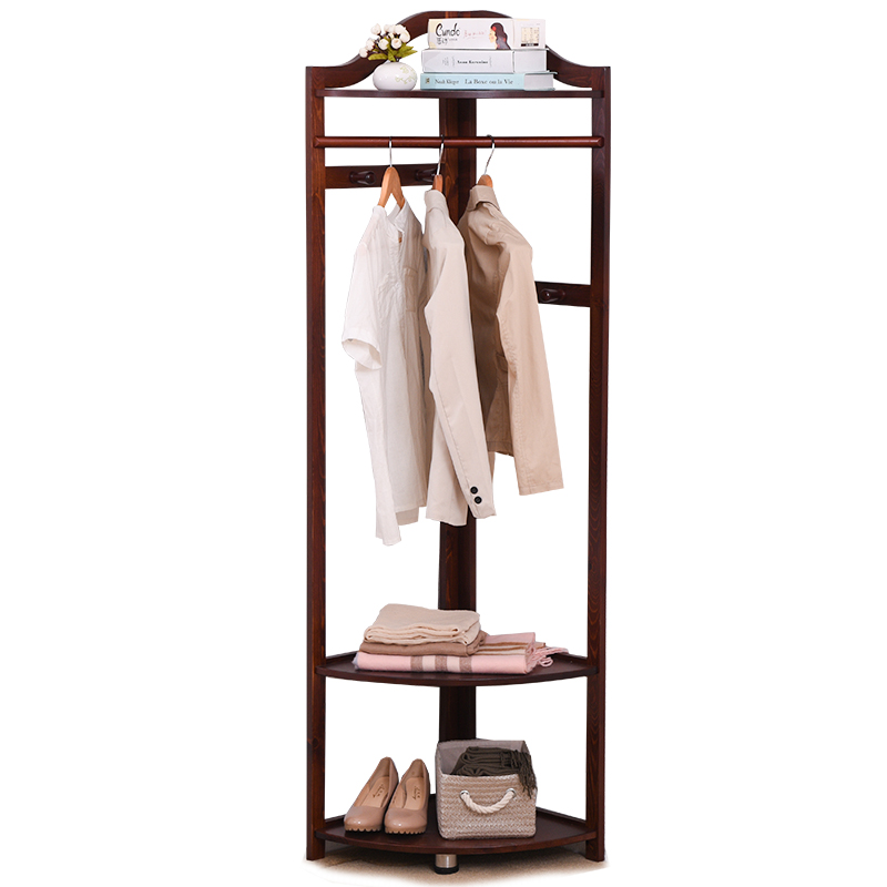 USD 4040] Corner Coat Rack Floor Solid Wood Hangers Bedroom Unique Simple Coat Rack