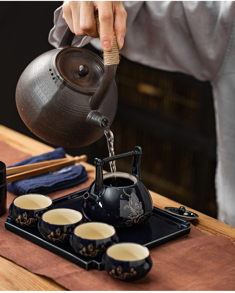 Japanese plant ash girder coarse pottery pot set group kung fu tea teapot tea cup tray was restoring ancient ways of a complete set of tea tray