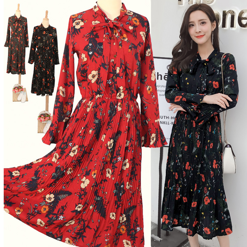 e038088dba397 Spring and autumn dress 2019 new women in the long section of the Korean  version of the autumn shirt skirt long-sleeved chiffon floral dress