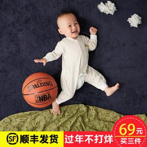 叮当猫 婴儿连体衣纯棉春秋长袖0-1岁男女宝宝哈衣爬服新生儿衣服