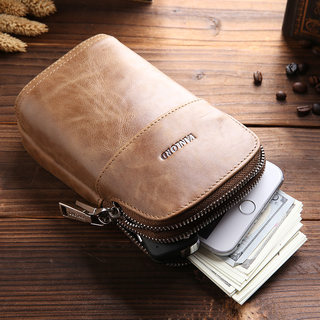 Men's small, lightweight cowhide leather purse Tide brand ins feature phones running sports bag man wearing a leather belt
