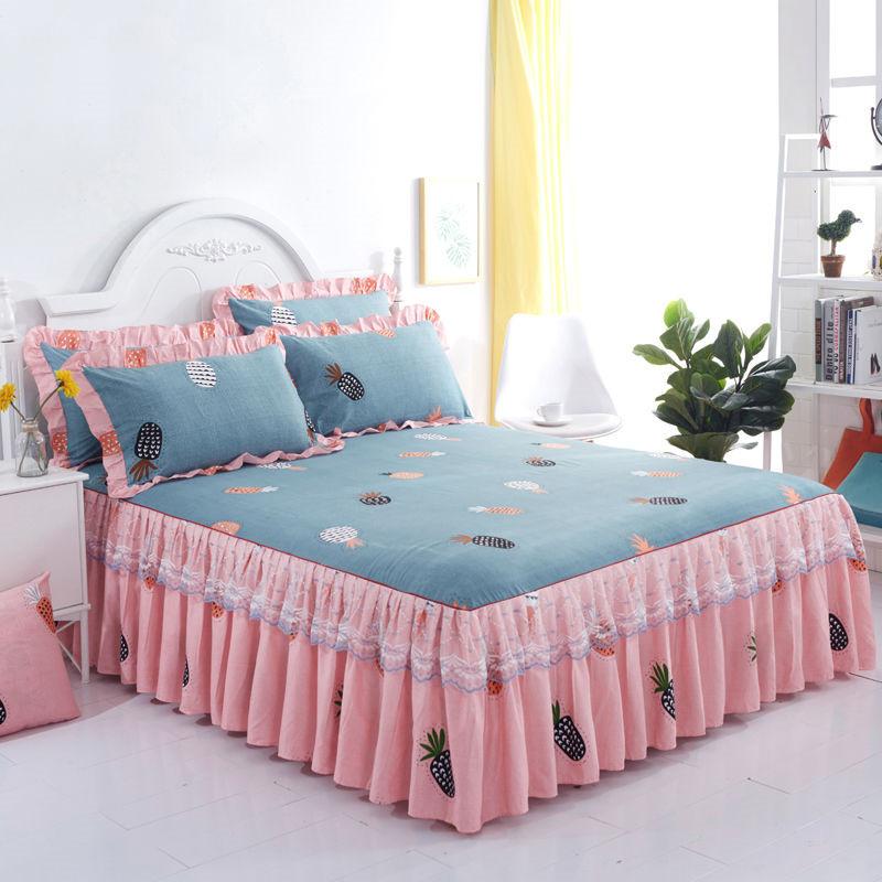 韩版床『裙三件套【床裙+枕套一对】蕾丝公主风防滑床单床罩款单件