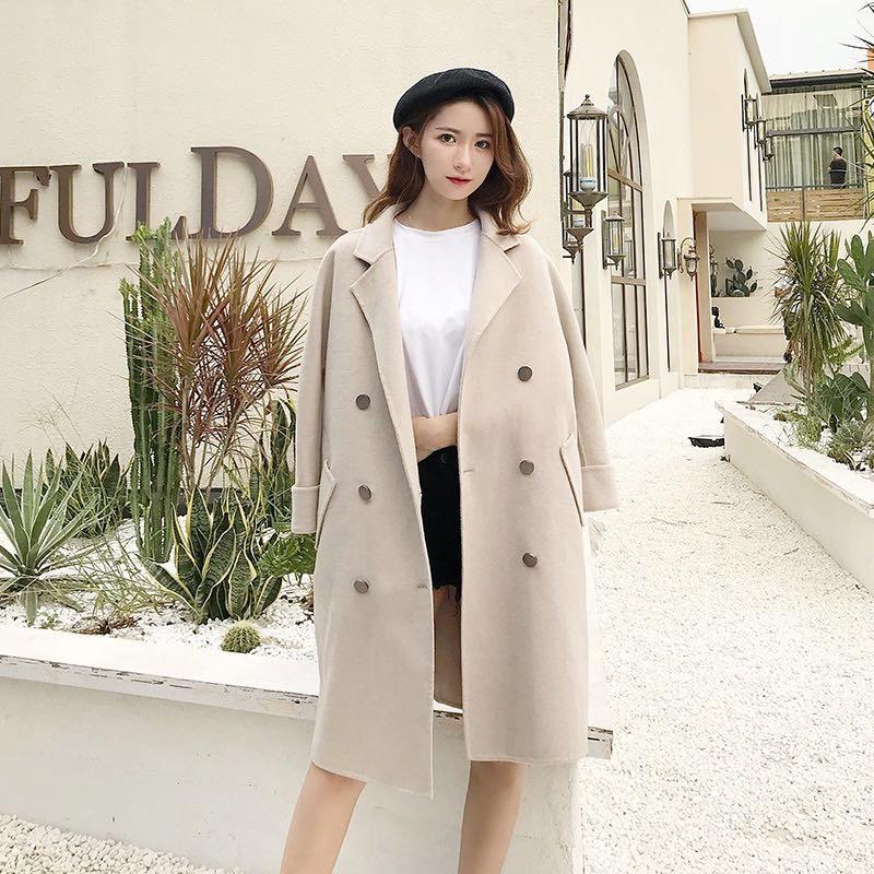 2018秋冬新款韓版顯瘦小個子中長款雙面呢子羊毛絨大衣毛呢外套女