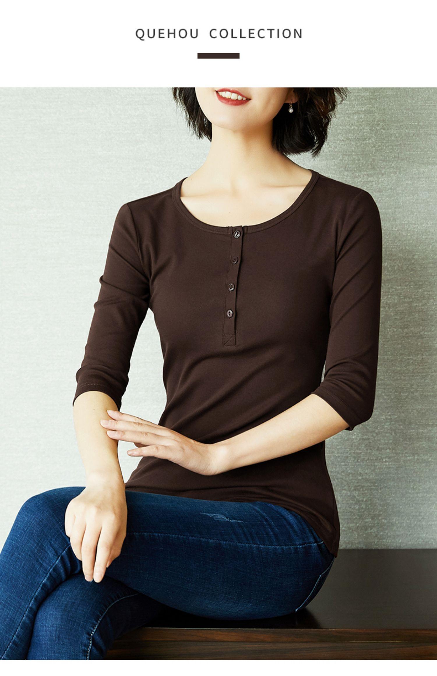 雀后T恤女七分袖圆领短袖针织打底百搭长袖体恤修身中袖上衣夏装商品详情图