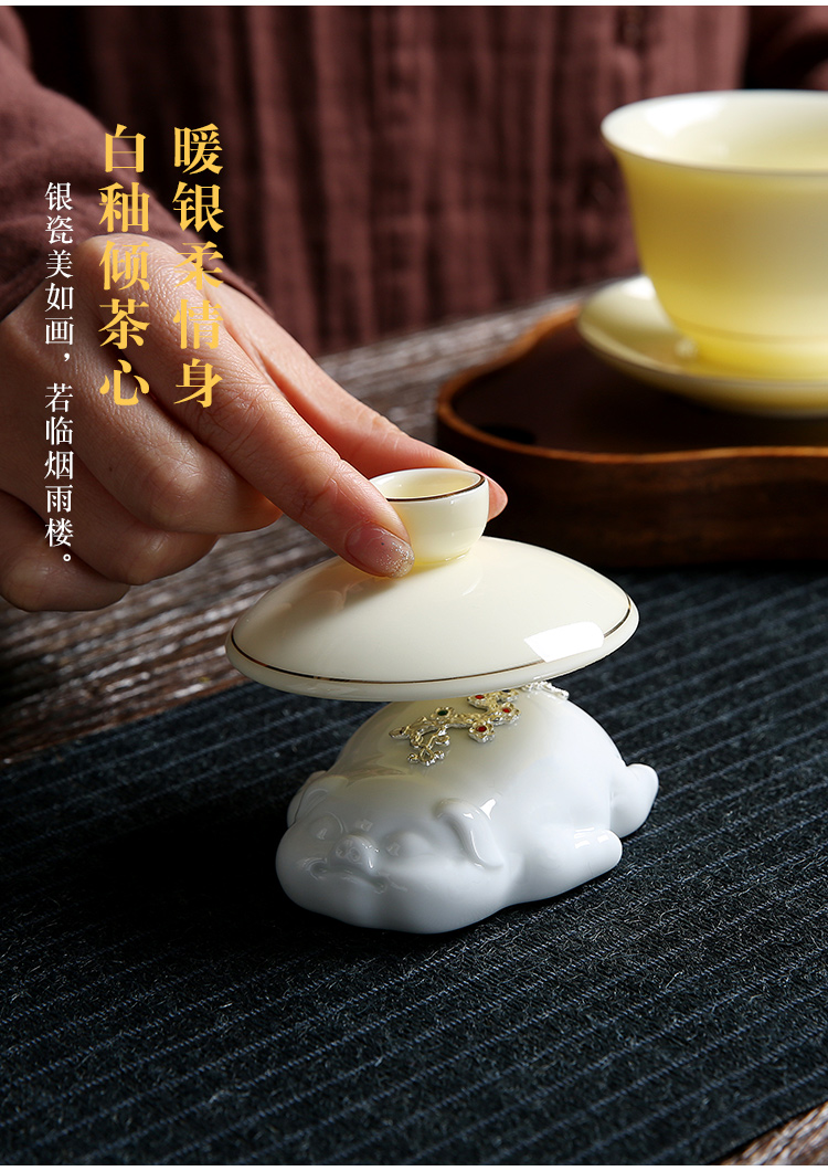 Recreational product silver pig furnishing articles pet boutique tea can keep playing purple sand tea jade porcelain tea set with parts of the accessories
