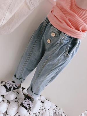 春秋新款童装 中小童排口小脚儿童牛仔裤 男女童宝宝长裤子