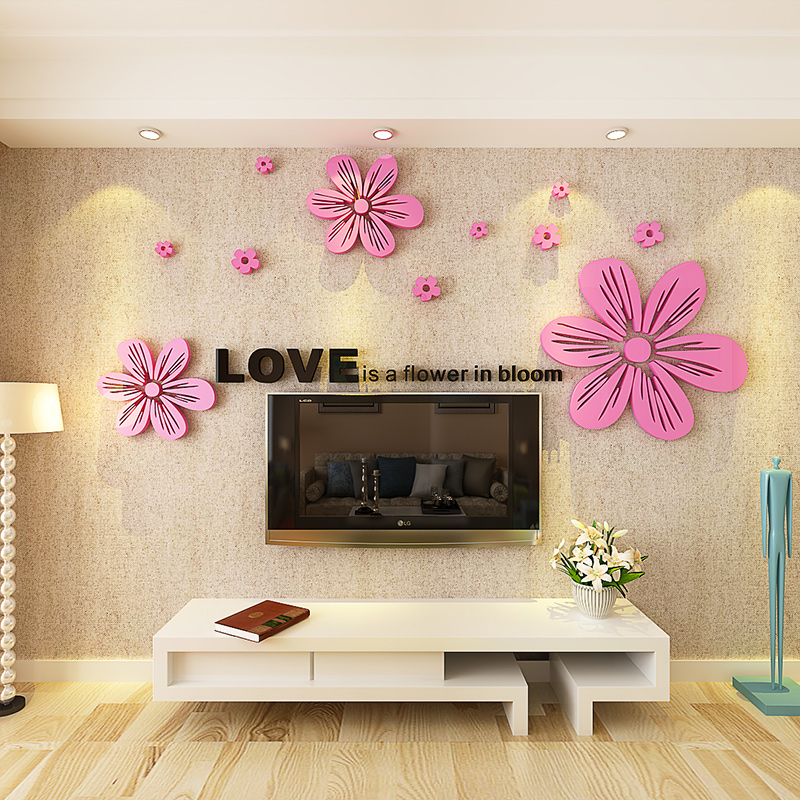3d acrylic three-dimensional wall sticker painting wedding room ...