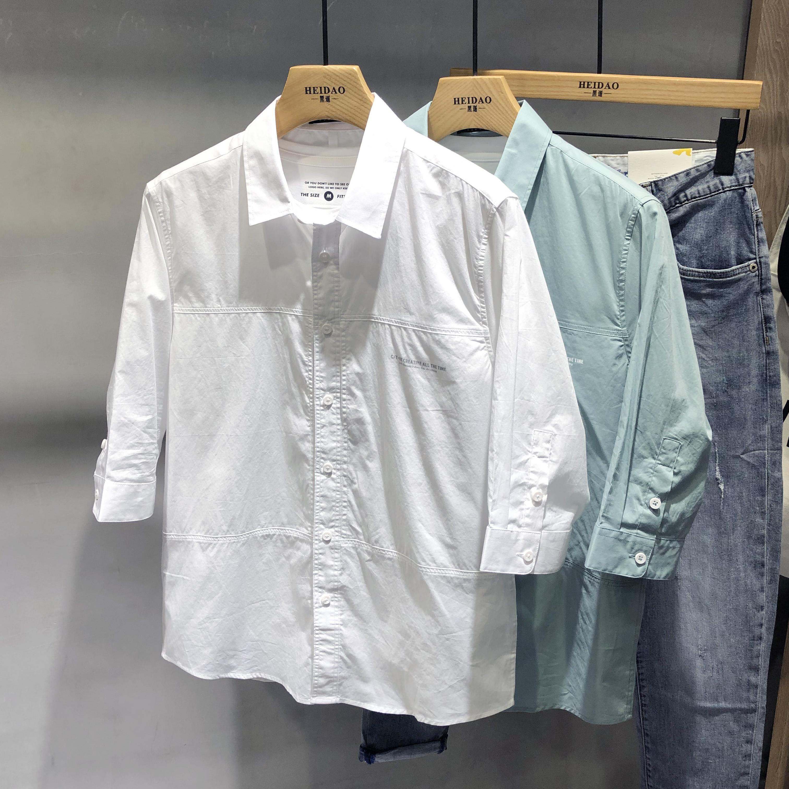 Áo sơ mi tay ngắn màu tinh khiết nam phong cách Hàn Quốc hợp thời trang đẹp trai áo sơ mi tay giữa Nhật Bản áo sơ mi nam tay áo ba lỗ cotton - Áo