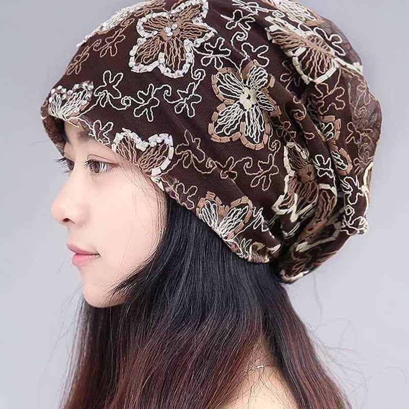 帽子女韩版秋天透气头巾帽套头蕾丝包头孕妇月子帽空调光头化疗帽