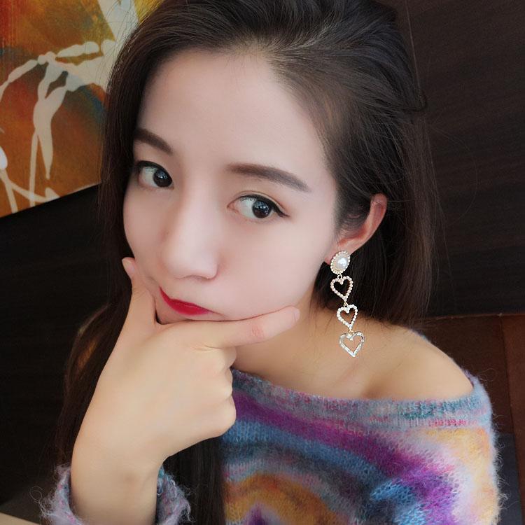 韩国东大门定制款长款珍珠镶钻耳钉耳坠耳环 夸张气质百搭女耳饰