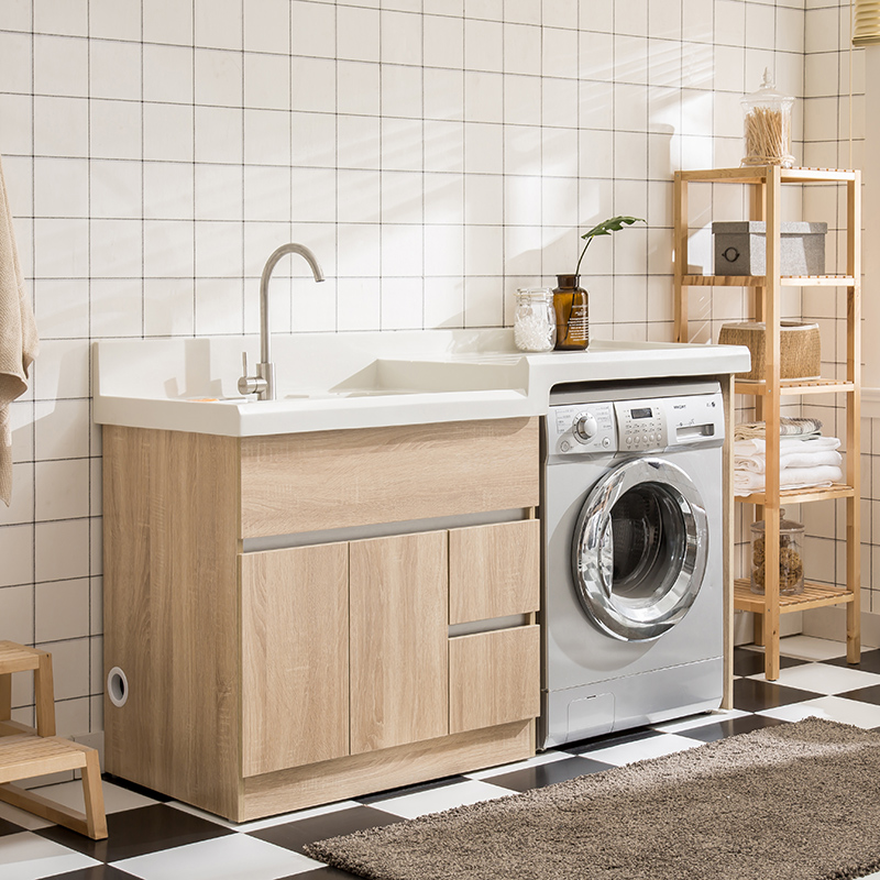 Balcony laundry cabinet combination of solid wood Nordic ...