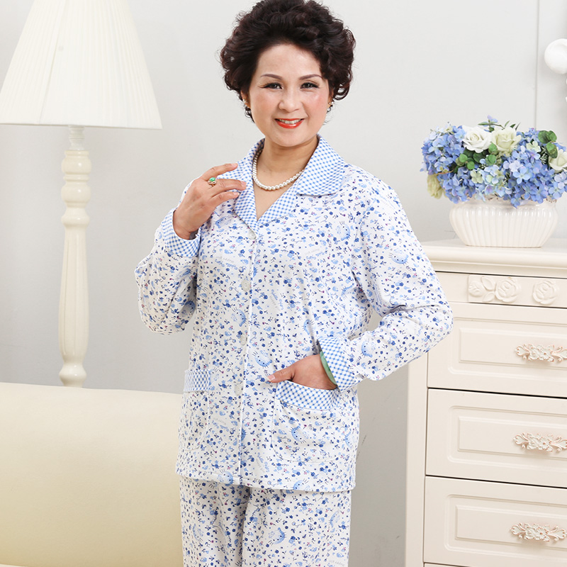... middle-aged women s pajamas cotton long-sleeved large size grandma.  Zoom · lightbox moreview · lightbox moreview ... 0b9735258