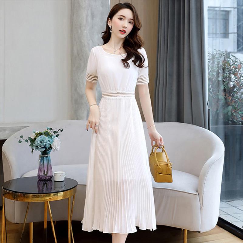 圆领百褶裙2020夏季中长款大摆雪纺短袖韩版女装裙子连衣裙女收腰