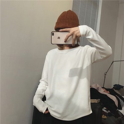taobao agent Muzi Autumn 2021/【It's easy to wear. Stock a few more】Thick long-sleeved white T-shirt women's round neck loose bottoming shirt