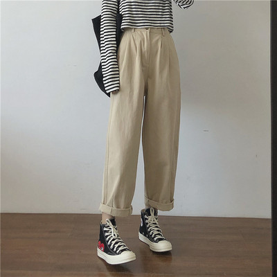 taobao agent Muzi 2021 autumn/very comfortable overalls, all-match loose, thin, high-waisted, wide-legged casual pants, women's trousers